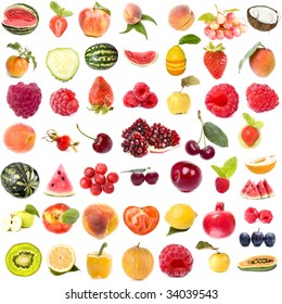 collection set of fresh juicy fruits and berries isolated on white background