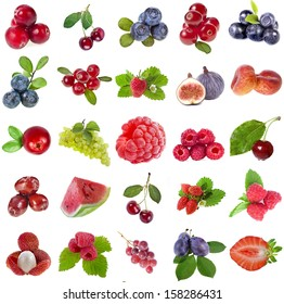 Collection set of fresh ripe fruits berries close up sign  objects isolated on white background