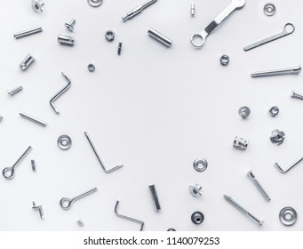 Collection set of house repair tools, wrenchs, screw, bolts on white background,flat lay pattern design