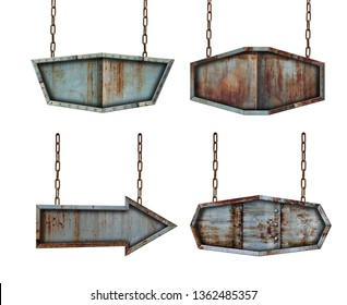 Collection set of metal plate sign board with chains isolated on white background