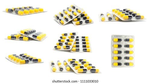 collection set penicillin, Amoxycillin 500MG. Antibiotics Capsule Yellow with black isolated on white background