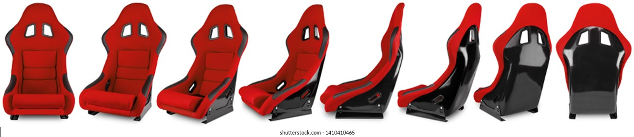 Collection or set of red black carbon fiber  race car bucket seat isolated on white background. Motorsport, Sim racing, and tuning concept.