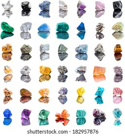 Collection set of semi-precious gemstones stones and minerals isolated on white  background