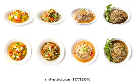 collection set of Spicy salad (Som Tum Thai) Traditional spicy -hot Thai food style. Thai cuisine delicious food popular of Thailand  isolated on a white background