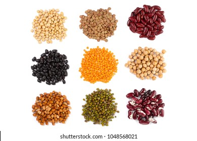 Collection set of Various dried kidney legumes beans, soybeans, lentils, chickpeas close up isolated on white background
