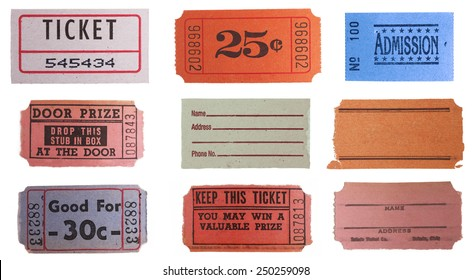 Collection set of vintage ticket stubs