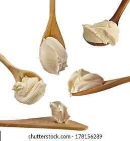 Collection set of White cream on wooden spoon top view surface Isolated on White Background