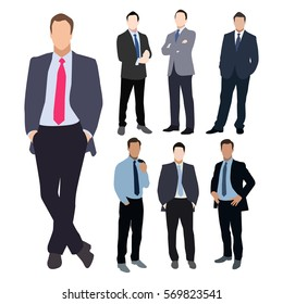 Collection of seven man silhouettes, dressed in business style. Formal suit, tie, different poses. Flat style image.