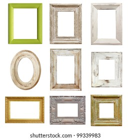 Collection of shabby chic distressed picture frames, isolated.