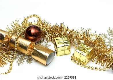 A collection of shiny Christmas decorations and tree adornments