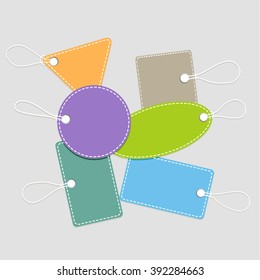 Collection of shopping tags with rope