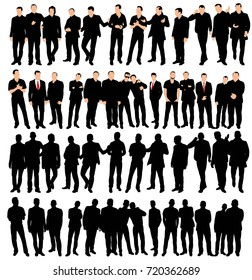 collection of silhouettes of men, business, stand, sit