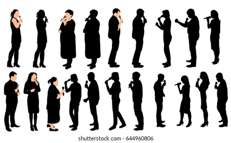 A collection of silhouettes of people singing into the microphone