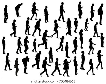 collection of silhouettes of people walking