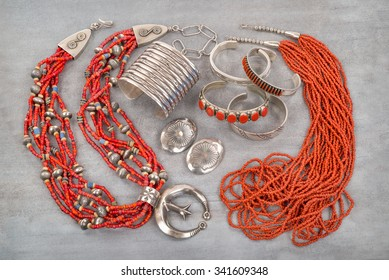 A Collection of Silver, Coral and Glass Bead Native American Jewelry.
