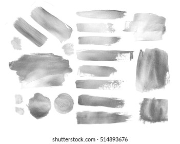 Collection of silver paint strokes and stains to make a background for your design