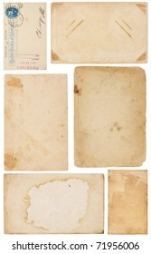 Collection of six aged, worn and stained paper scraps isolated on white. Most with room for text or images.