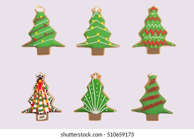 A collection of six different gingerbread christmas trees