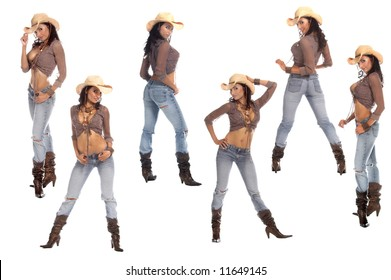 Collection of six poses of a sexy young cowgirl in a hat, jeans and boots