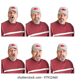 Collection of six varied expressions on a mature man isolated on white backgrounds.