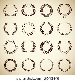 Collection of sixteen circular vintage laurel wreaths for use as design elements in heraldry  on an award certificate  manuscript and to symbolise victory illustration in silhouette