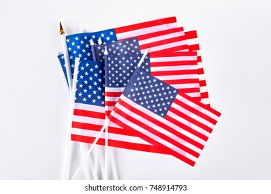 Collection of small flag of USA. Set of cocktail flag of USA on white background.