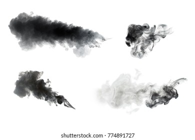 Collection of smoke isolated on white