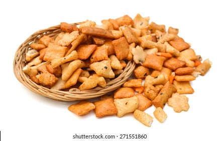 collection of snack on white background