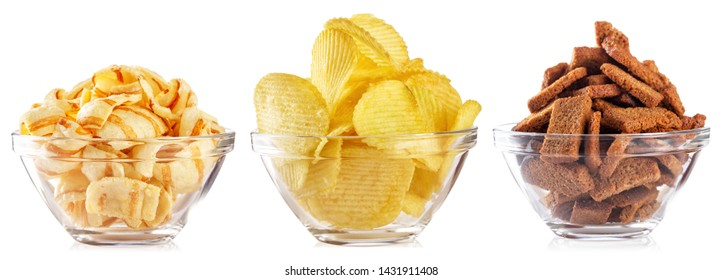 Collection of snacks for beer isolated on white background. Chips and crackers in a transparent plate. Set