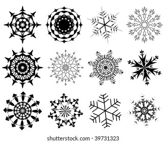 Collection of  snowflakes in different shape