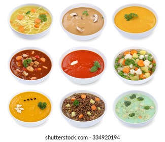 Collection of soups soup in bowl tomato vegetable noodle isolated on a white background