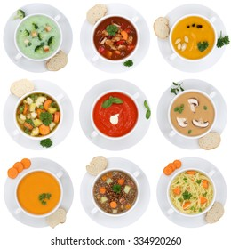 Collection of soups soup in cup tomato vegetable noodle isolated on a white background from above