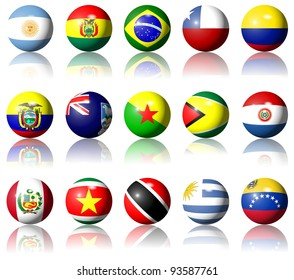 A collection of South American flags shaped as spheres / South American flags