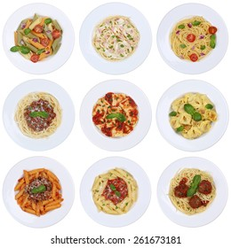 Collection of spaghetti, Ravioli noodles pasta meal isolated on a plate from above