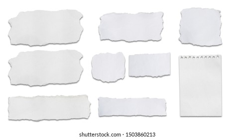 Collection speech bubble of white paper crack  ripped pieces , isolated on white background witj clipping path .each one is shot separately