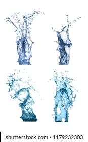 Collection splash water isolated in white background