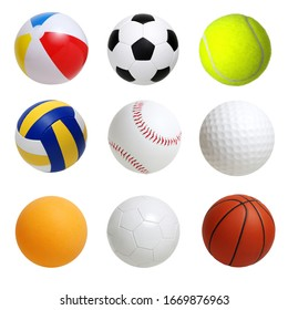 Collection of sport balls isolated on white background