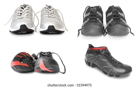 collection of sport shoes isolated on white