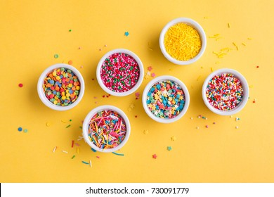 A collection of sprinkles for cake and ice-cream and cookies, Top view