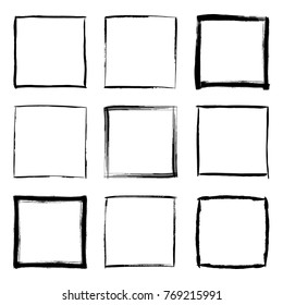 Collection of square black hand drawn grunge frames, borders set. Set of design elements. Illustration in black isolated over white.