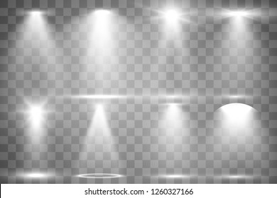 Collection of stage lighting, catwalk or platform, transparent effects. Bright lighting with spotlights. Light effect. Projector.