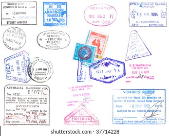 A collection of stamps and visa's on a white background from Japan, Korea, Hong Kong, Australia, Venezuela, United States and Egypt