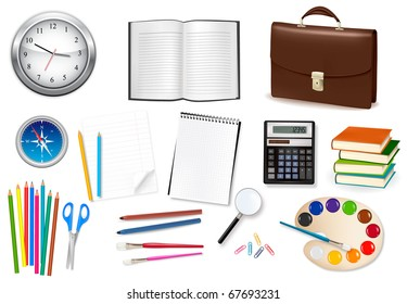 Collection of stationery for the office. Raster version of vector.