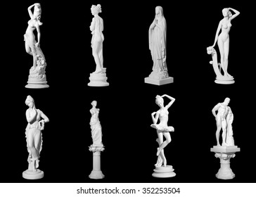 Collection of statues isolated on black background