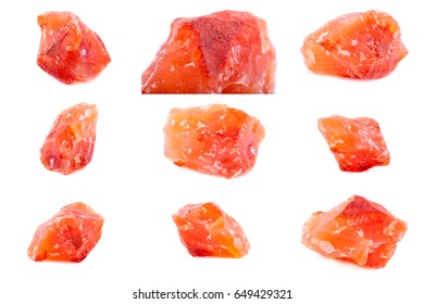 Collection of stone mineral Carnelian close up