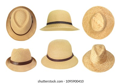 Collection of straw hats isolated on white