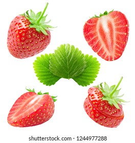 Collection of strawberries. Whole, half and slices strawberry fruits with leaves isolated on white background with clipping path