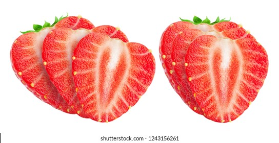 Collection of strawberry slices. Sliced strawberries isolated on white background with clipping path
