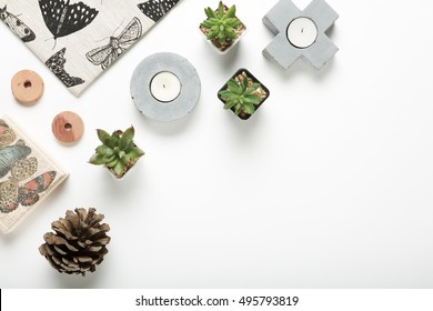Collection of styled home decor objects flat lay from overhead