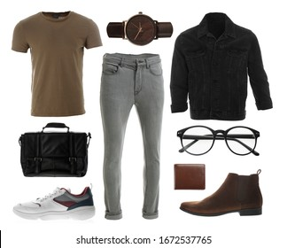 Collection of stylish outfit on white background